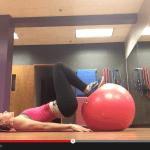 stability ball lower body exercises {hamstring curls and pelvic tilts / glute bridge}