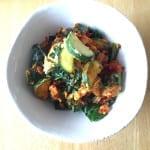 veggie egg scramble {eggs, zucchini, chard}