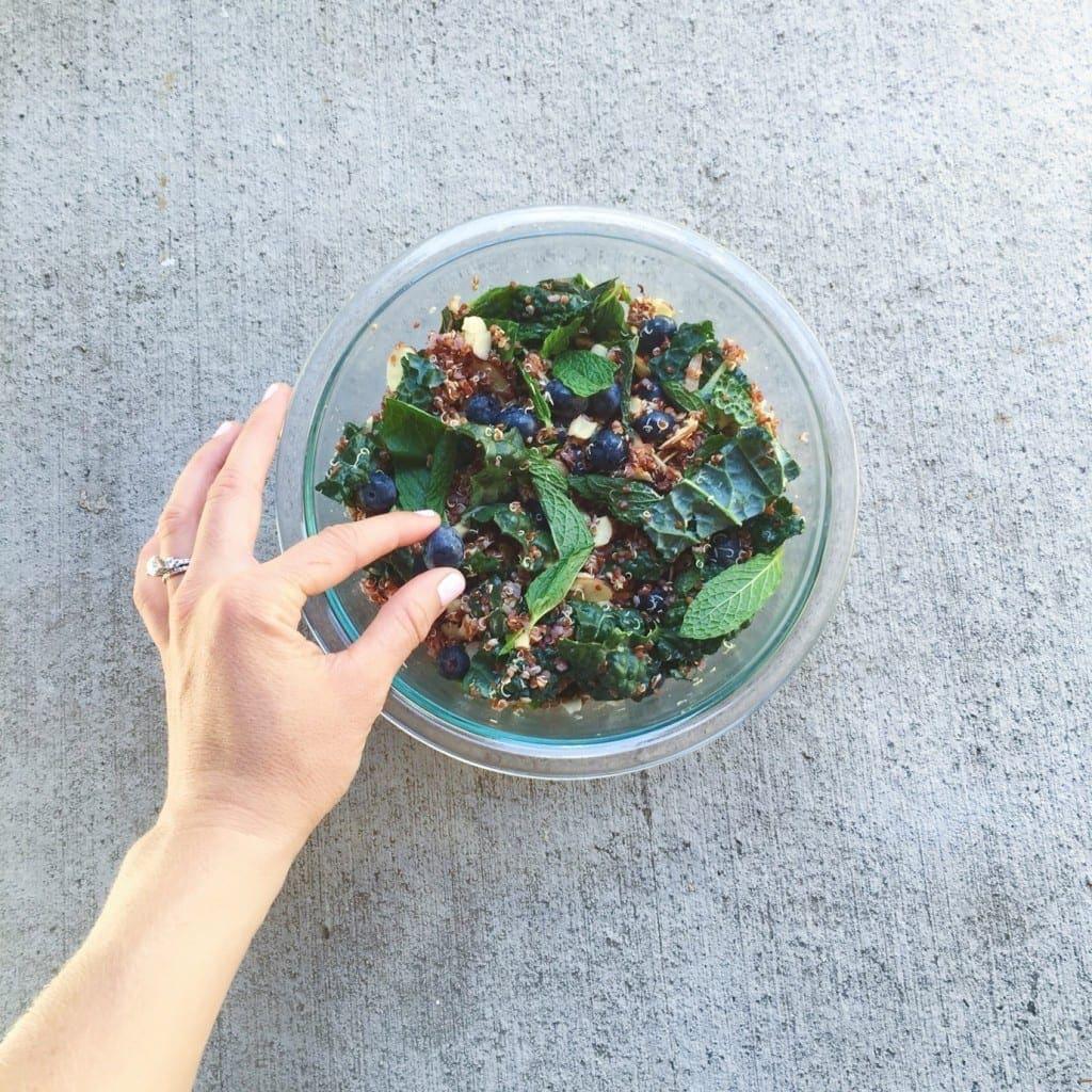 Mint Blueberry Kale Quinoa Salad_hand