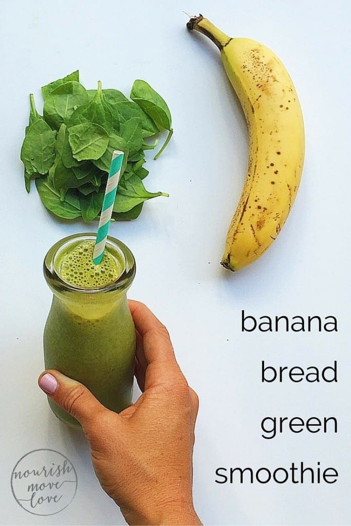 banana bread green smoothie pin this recipe --- www.nourishmovelove.com