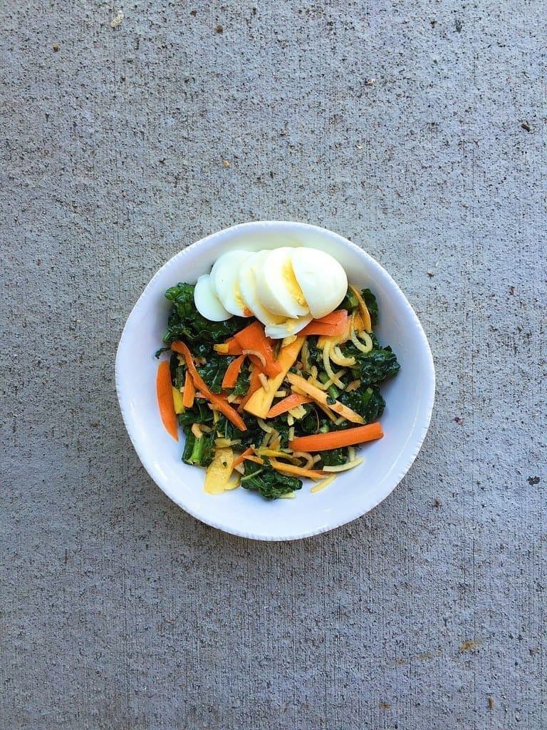 massaged kale and carrot salad with egg