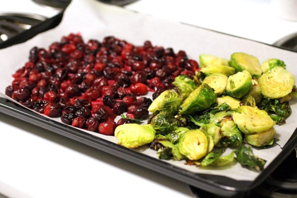 Brussels sprouts 3 ingredient holiday appetizer for Thanksgiving or Christmas, Brussels sprouts, cranberries and goat cheese.
