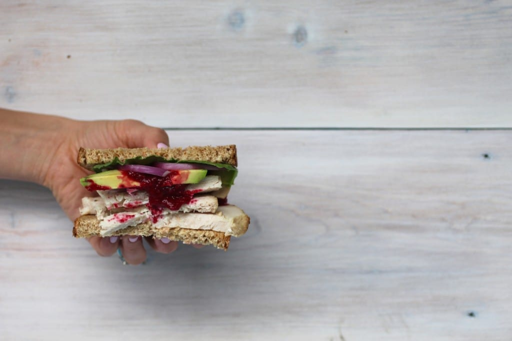 thanksgiving leftovers classic turkey sandwich with cranberry sauce - https://www.nourishmovelove.com/