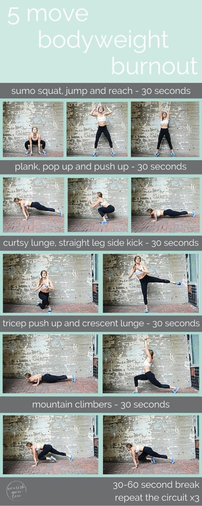 5 move bodyweight burnout -- bodyweight calorie burner 5 exercises you can do in 10 minutes or less - mountain climbers - www.nourishmovelove.com