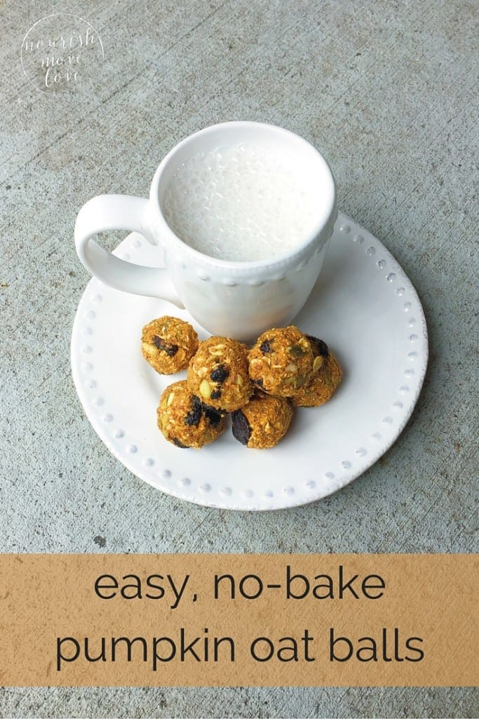 most popular recipe of 2015 -- easy, no-bake pumpkin oat balls -- www.nourishmovelove.com
