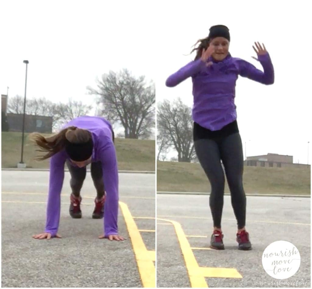 winter wonderland hiit, holiday travel-friendly equipment-free outdoor circuit workout - burpee with lateral hop - www.nourishmovelove.com