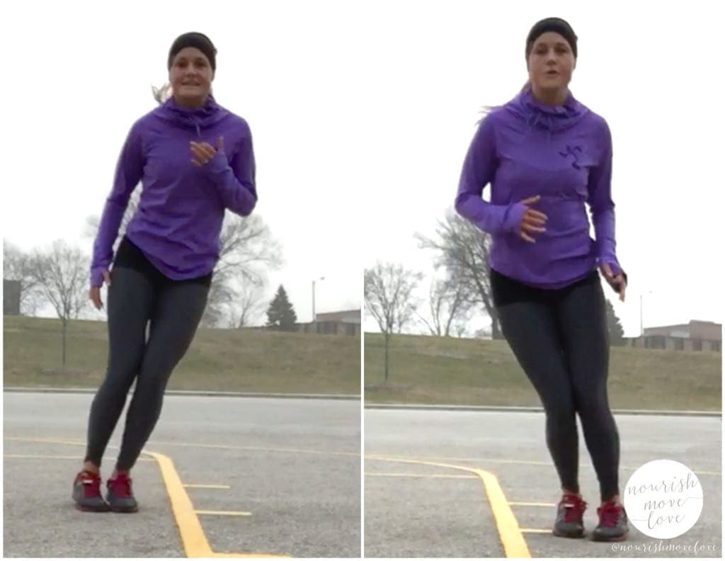 winter wonderland hiit, holiday travel-friendly equipment-free outdoor circuit workout - side to side hops - www.nourishmovelove.com
