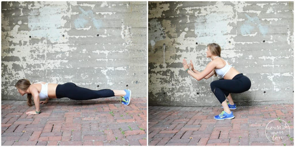 bodyweight calorie burner 5 exercises you can do in 10 minutes or less - plank to push up pop up - www.nourishmovelove.com