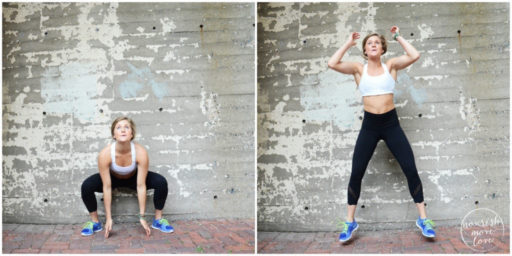 bodyweight calorie burner 5 exercises you can do in 10 minutes or less - sumo squat and reach - www.nourishmovelove.com