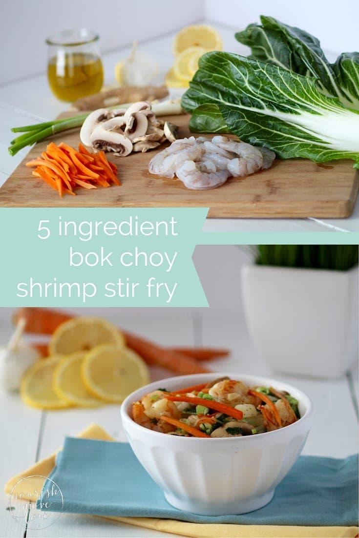 5 ingredient bok choy shrimp stir fry -- pin this recipe -- www.nourishmovelove.com