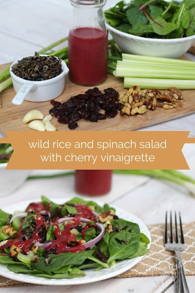 wild rice salad with spinach and walnuts and cherry vinaigrette recipe -- www.nourishmovelove.com