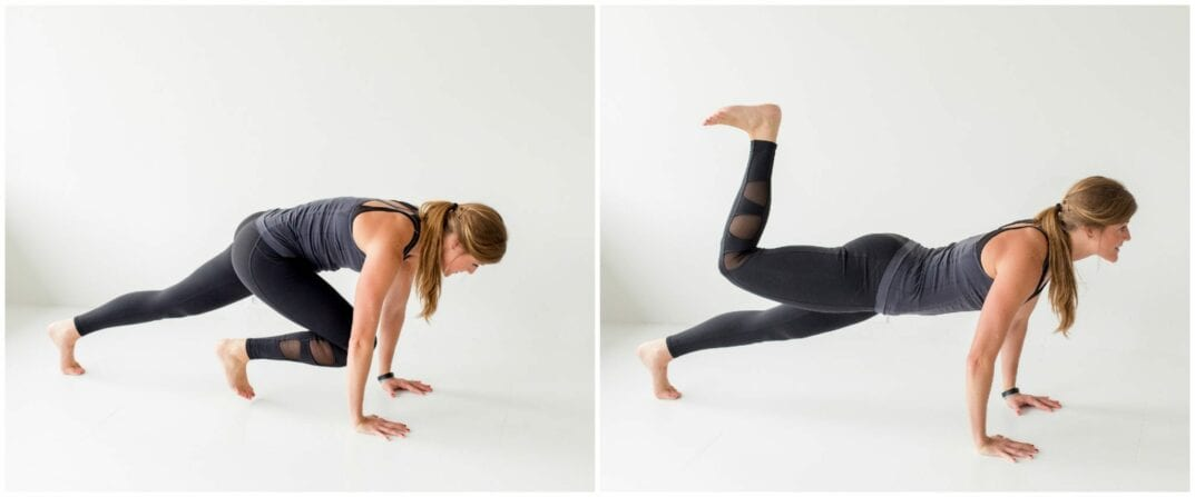 tighten up, ab and butt workout - plank with knee pull and glute stamp - www.nourishmovelove.com