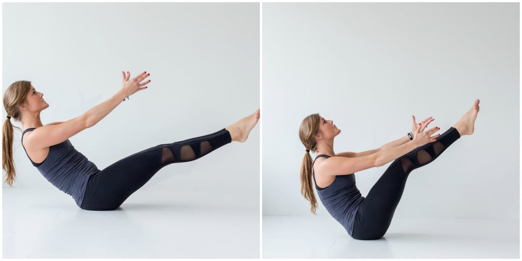 best barre exercises for flat abs - barre 100 ab series - boat pose teaser pulse -- www.nourishmovelove.com