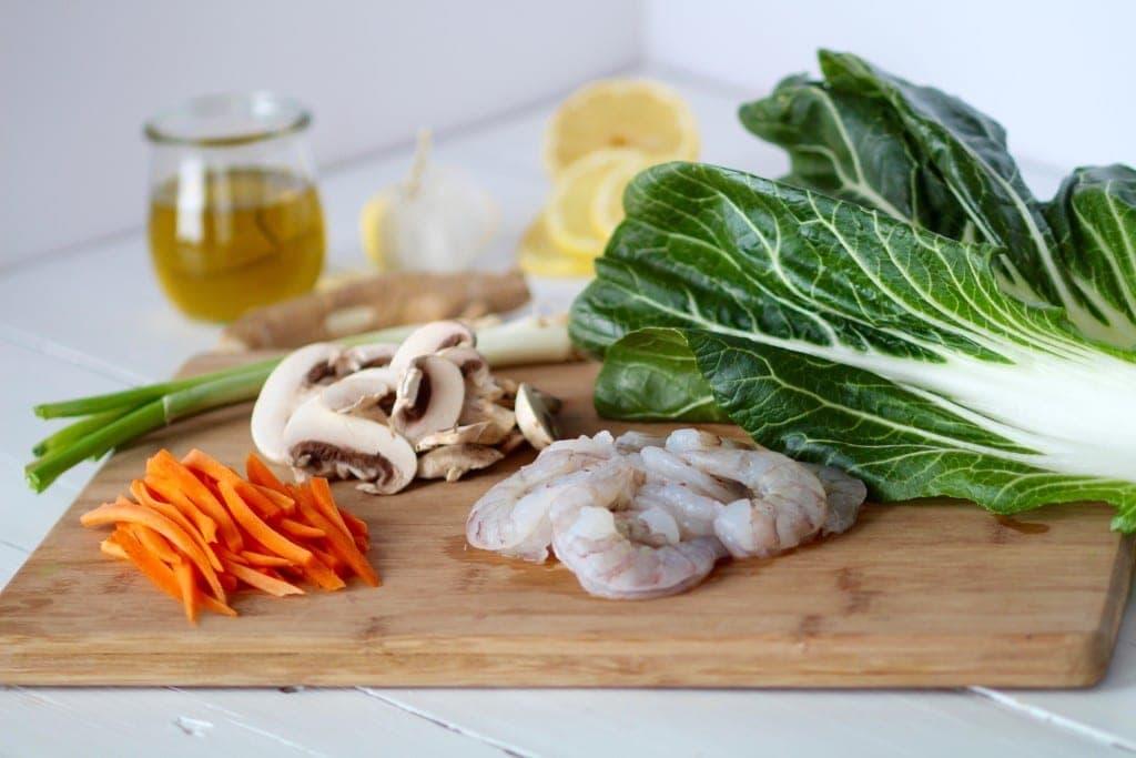 5 ingredient bok choy shrimp stir fry -- stir fry prep-- www.nourishmovelove.com