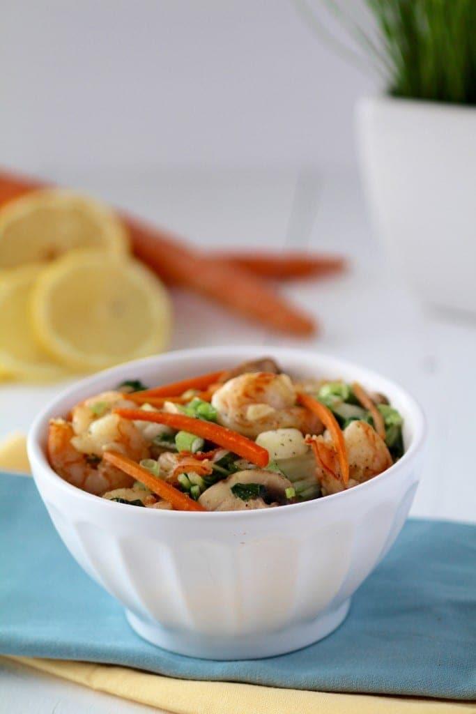 5 ingredient bok choy shrimp stir fry -- www.nourishmovelove.com