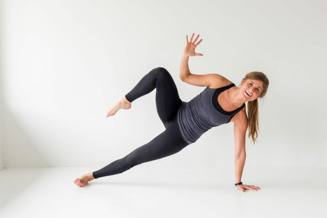 tighten up, ab and butt workout - side plank oblique crunch -- www.nourishmovelove.com