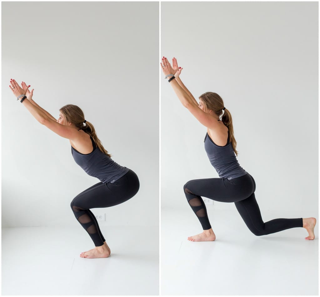 4 exercises to build a booty -- chair pose and low lunge -- www.nourishmovelove.com