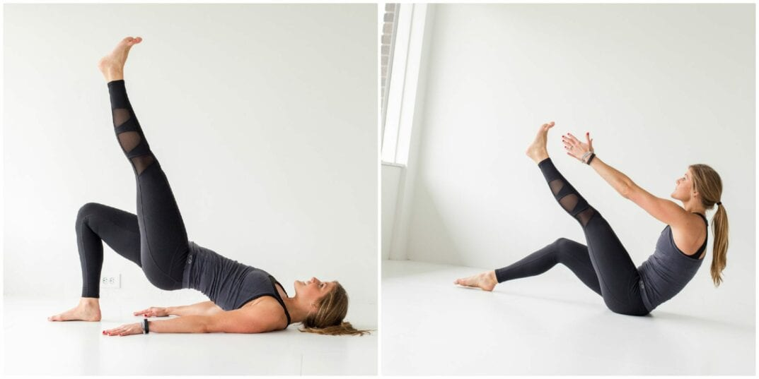 tighten up, ab and butt workout - glute bridge and toe touch -- www.nourishmovelove.com