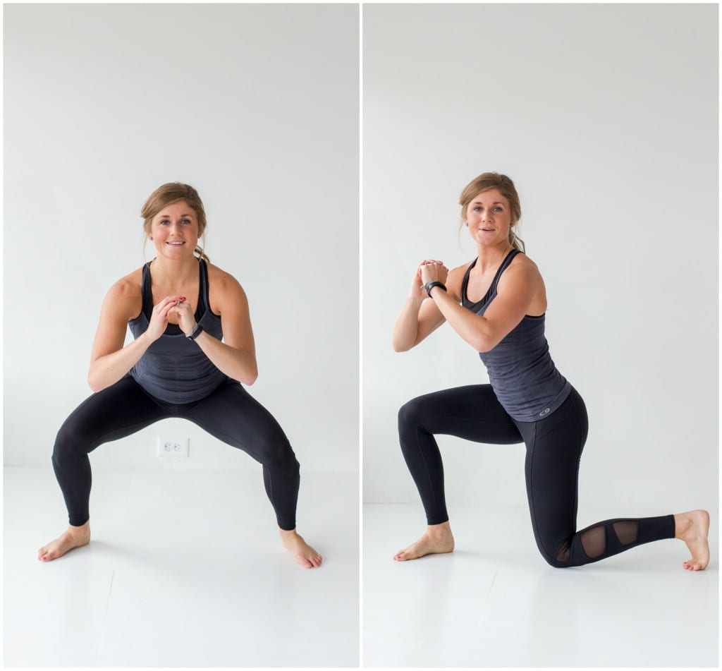 4 exercises to build a booty -- squat and lunge or knee drops -- www.nourishmovelove.com