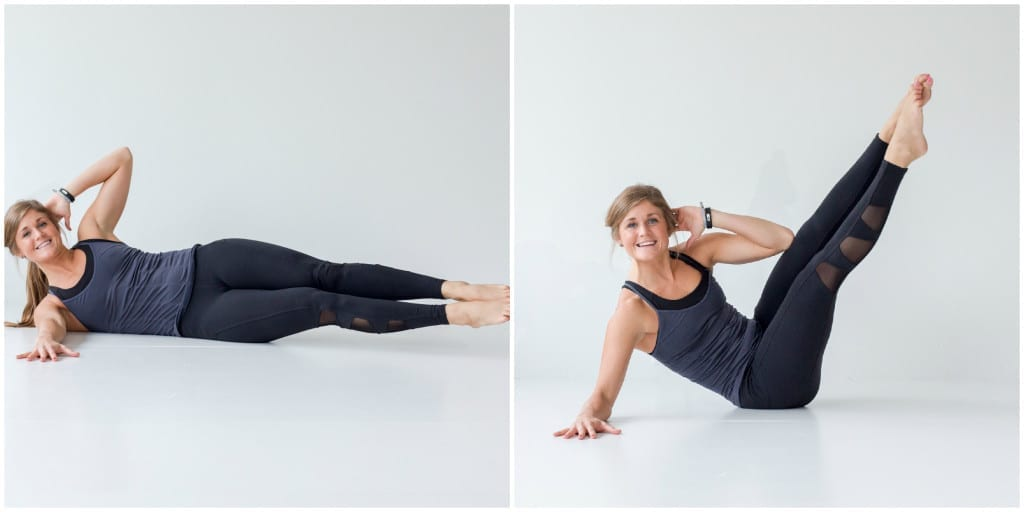 best barre exercises for flat abs - barre 100 ab series - oblique v-up -- www.nourishmovelove.com