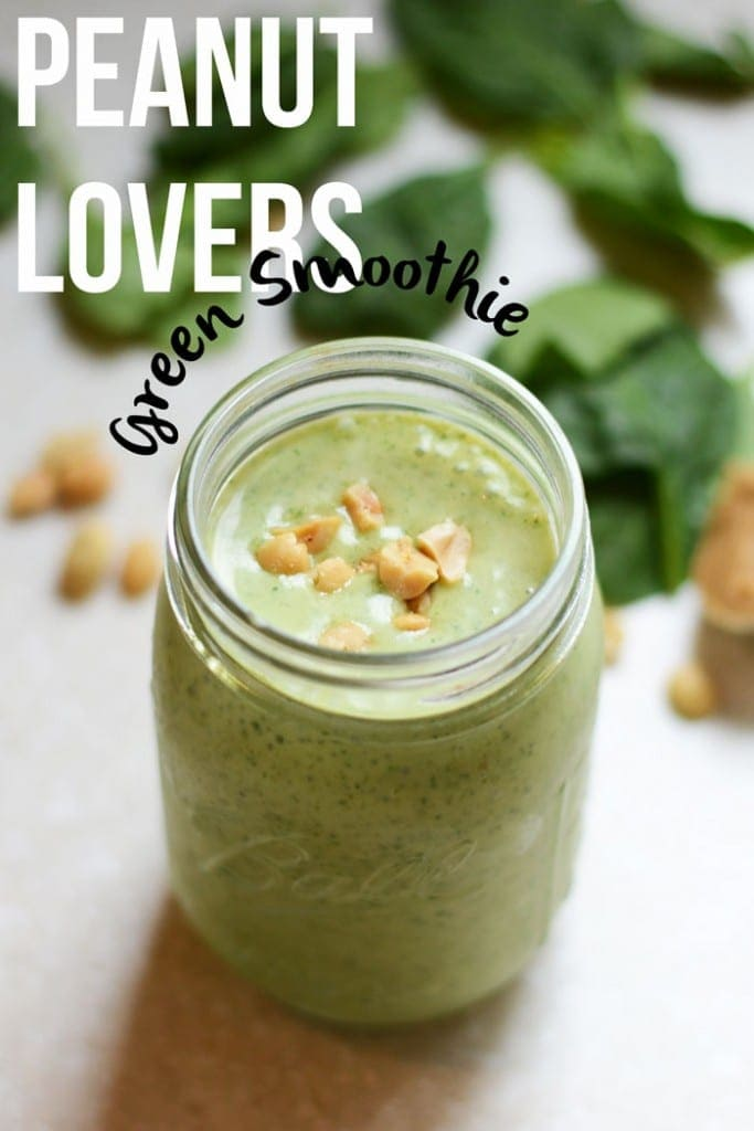 peanut lovers green smoothie from www.fitfoodiefinds.com