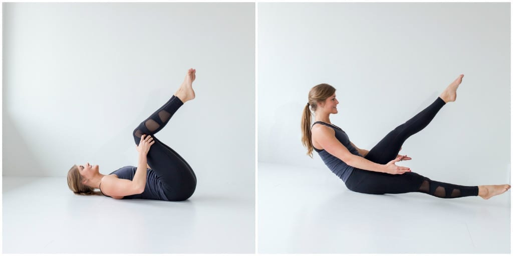 best barre exercises for flat abs - barre 100 ab series - roller boat to split leg hold -- www.nourishmovelove.com