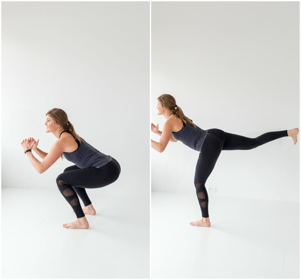 4 exercises to build a booty -- squat and donkey kick -- www.nourishmovelove.com