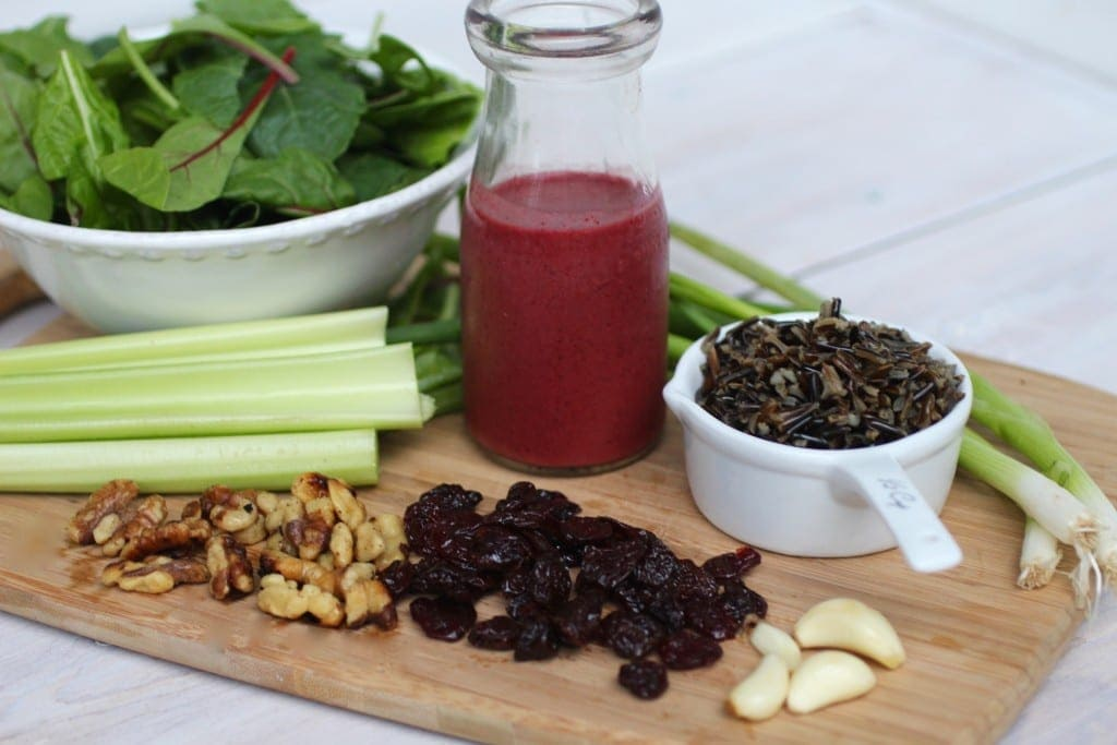 cherry wild rice salad with spinach and walnuts and cherry vinaigrette recipe -- www.nourishmovelove.com