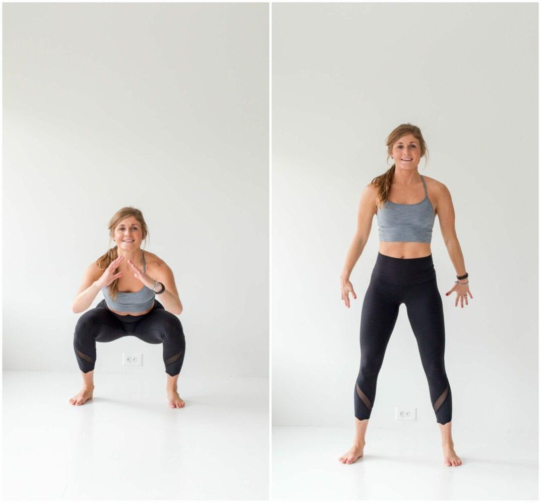 12 Squat Variations + Lower Body AMRAP Workout -- Air Squat -- www.nourishmovelove.com