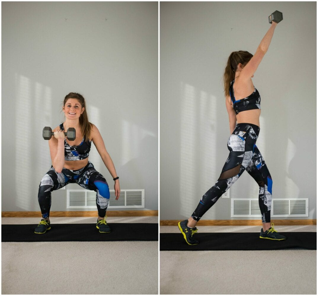 total body workout with just one dumbbell -- front squat with rotational press -- www.nourishmovelove.com
