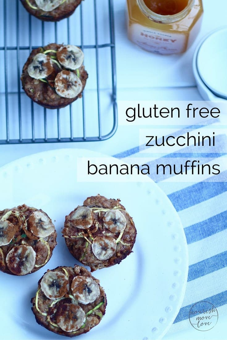 gluten-free, grain-free, dairy-free, refined-sugar free zucchini banana muffin recipe pin -- www.nourishmovelove.com