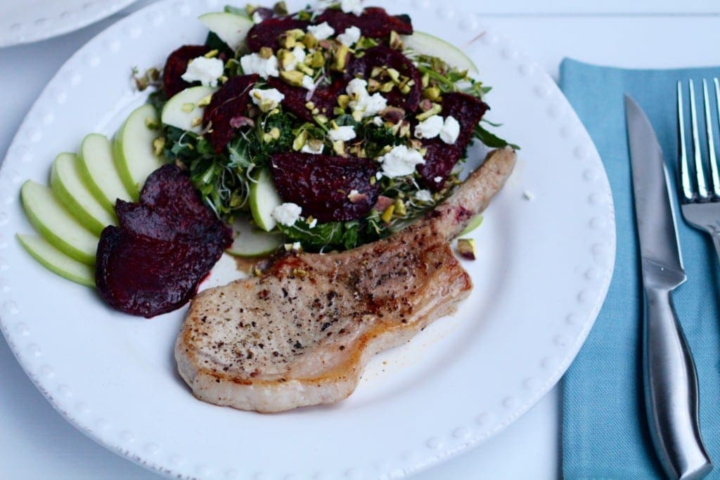 Frenched Pork Chop with Roasted Beet & Apple Salad Recipe - Local Crate -- www.nourishmovelove.com
