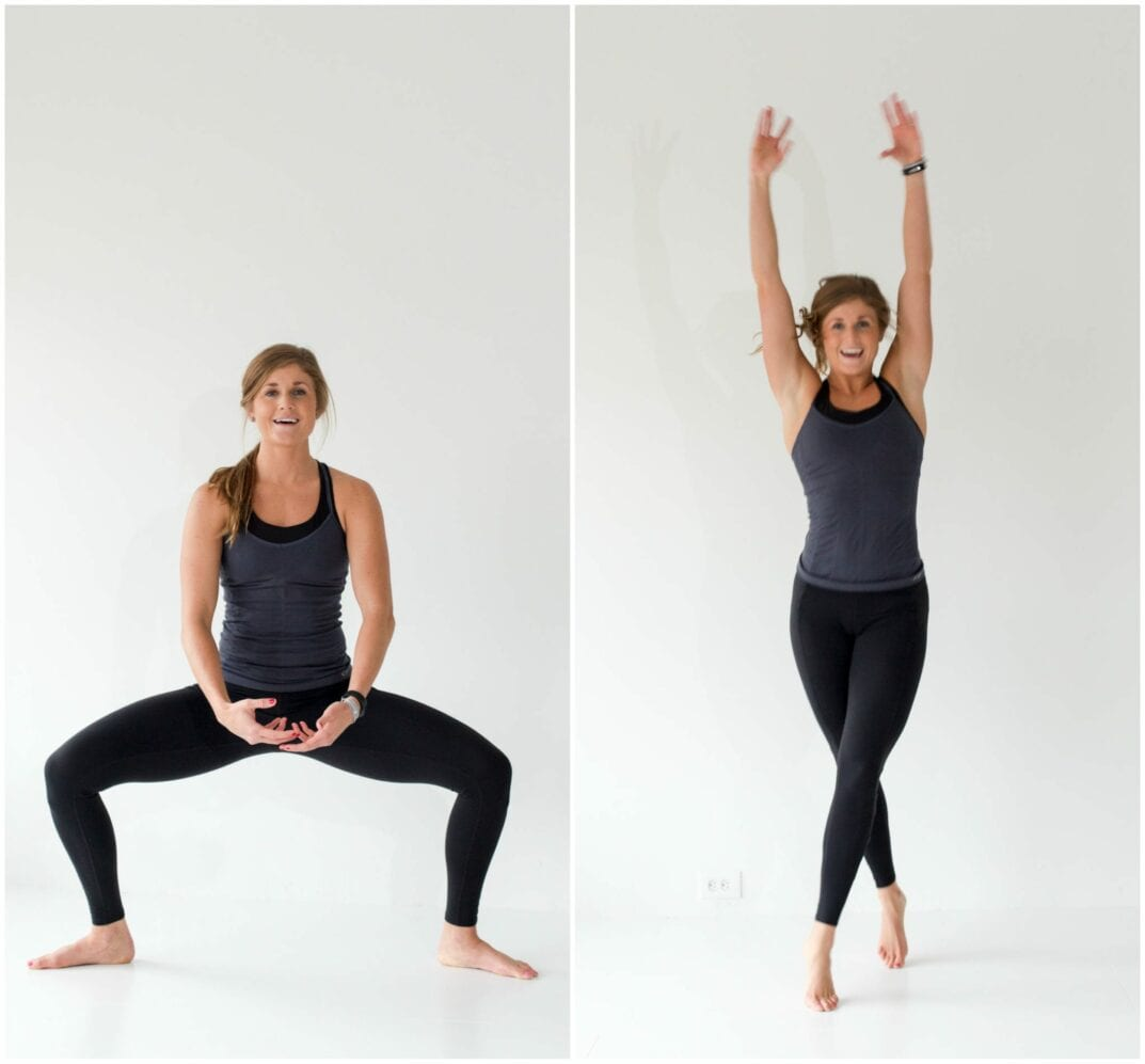 12 Squat Variations + Lower Body AMRAP Workout -- Plie Squat + Criss Cross Jack -- www.nourishmovelove.com