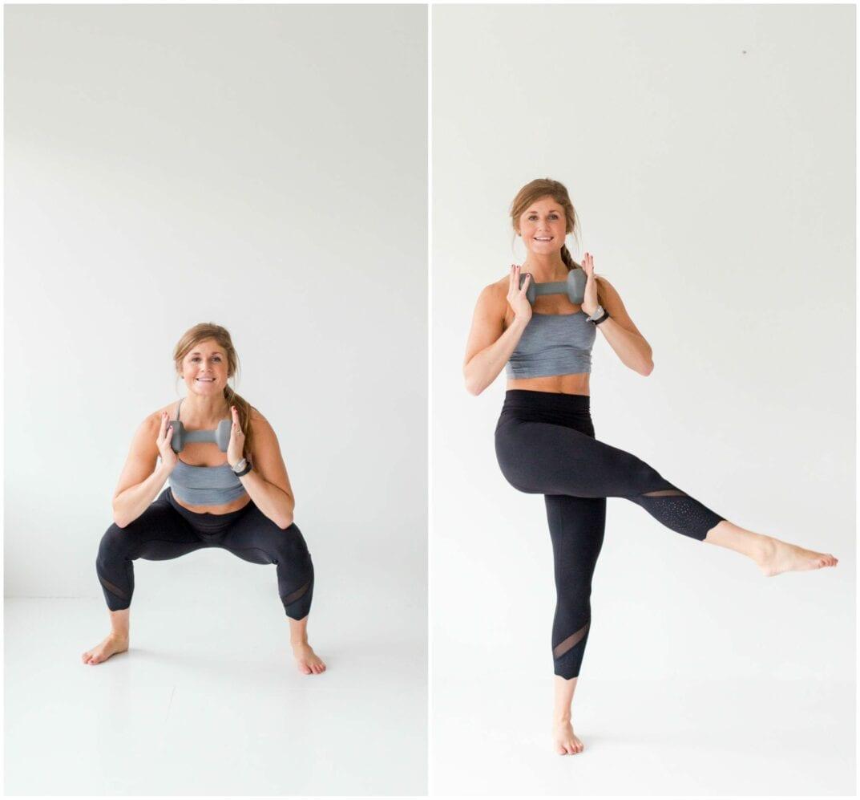 12 Squat Variations + Lower Body AMRAP Workout -- Squat + Inner Thigh Leg Sweep -- www.nourishmovelove.com