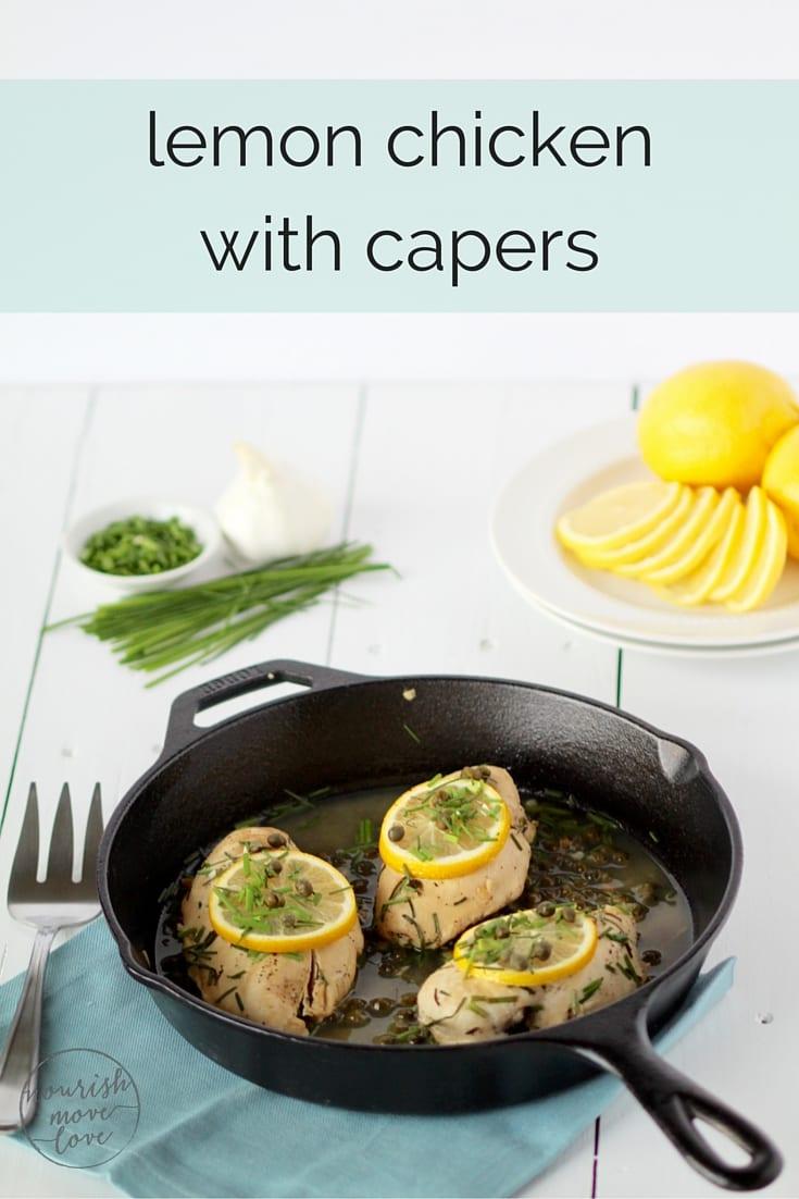 lemon chicken with capers recipe pin -- www.nourishmovelove.com