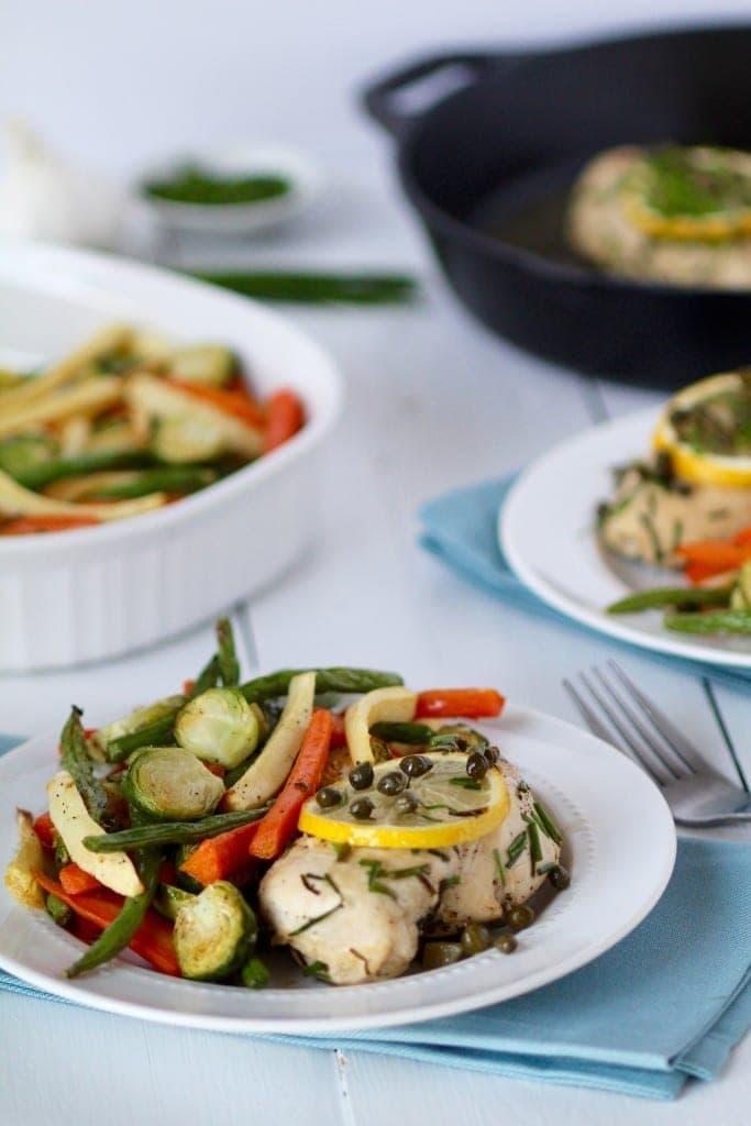 lemon chicken with roasted veggies recipe 30 minute meals -- www.nourishmovelove.com