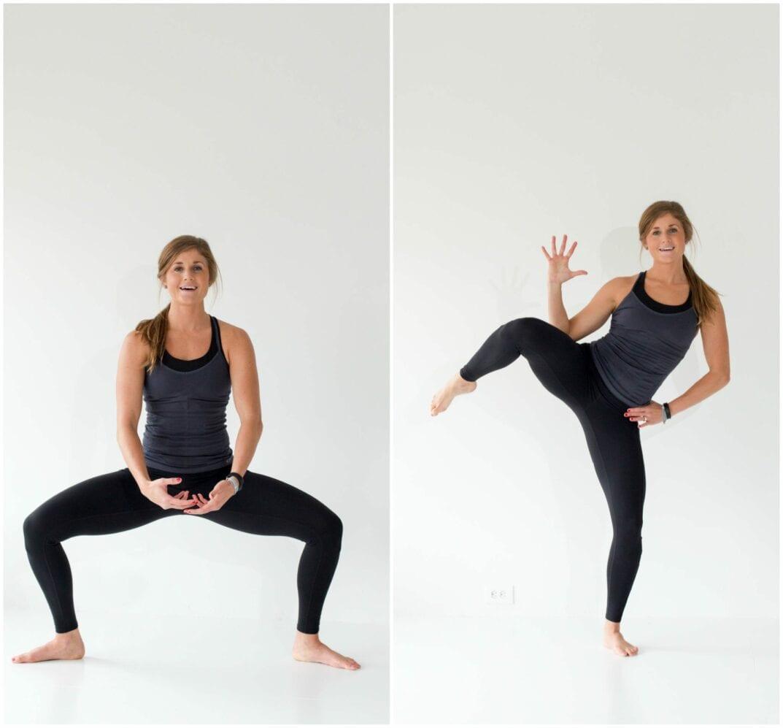 12 Squat Variations + Lower Body AMRAP Workout -- Plie Squat + Oblique Crunch -- www.nourishmovelove.com