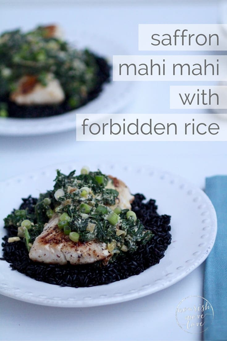 Saffron Mahi Mahi with Forbidden Wild Rice Recipe Pin - Local Crate -- www.nourishmovelove.com