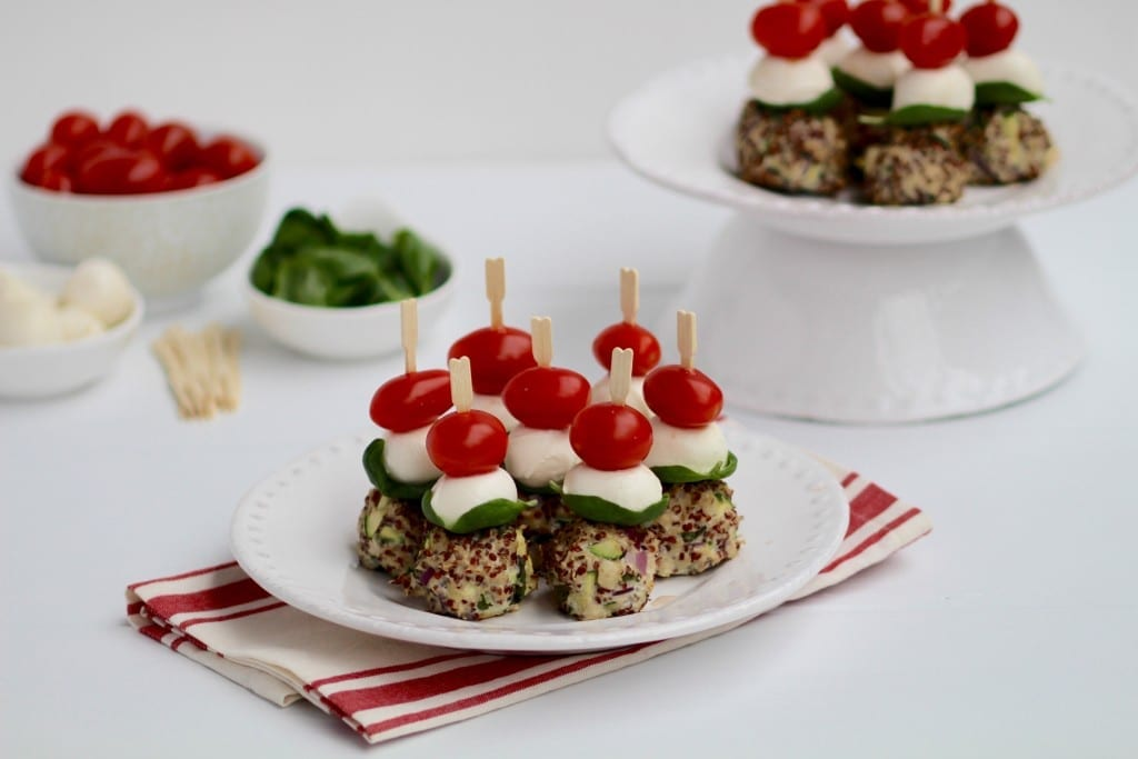 turkey, quinoa & zucchini caprese meatball skewers party appetizer recipe -- www.nourishmovelove.com
