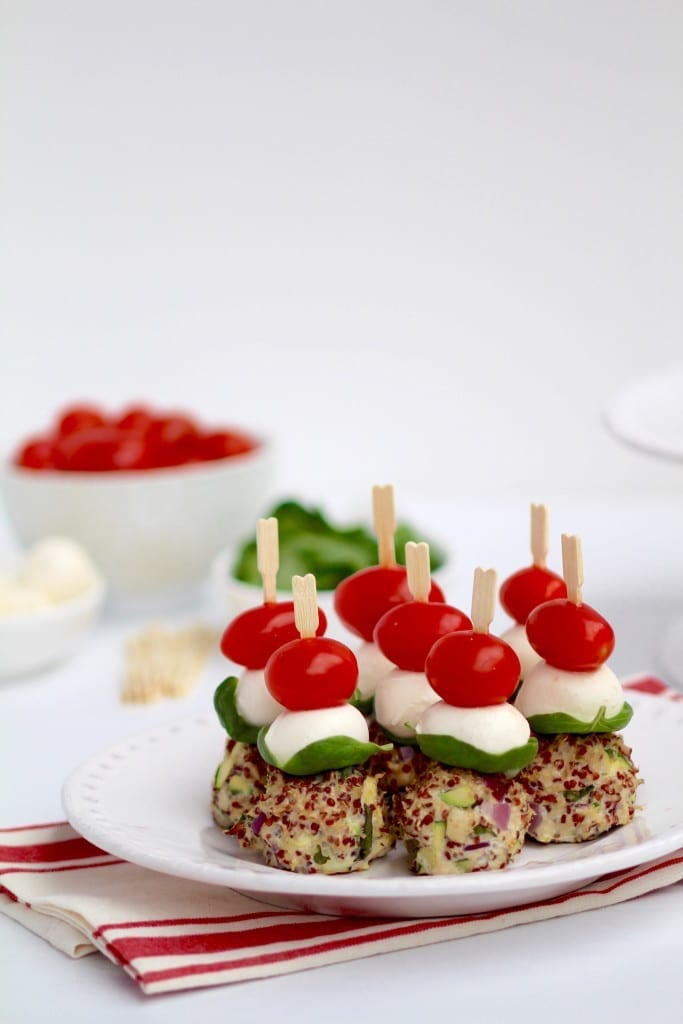 turkey, quinoa & zucchini caprese meatball skewers party appetizer -- www.nourishmovelove.com