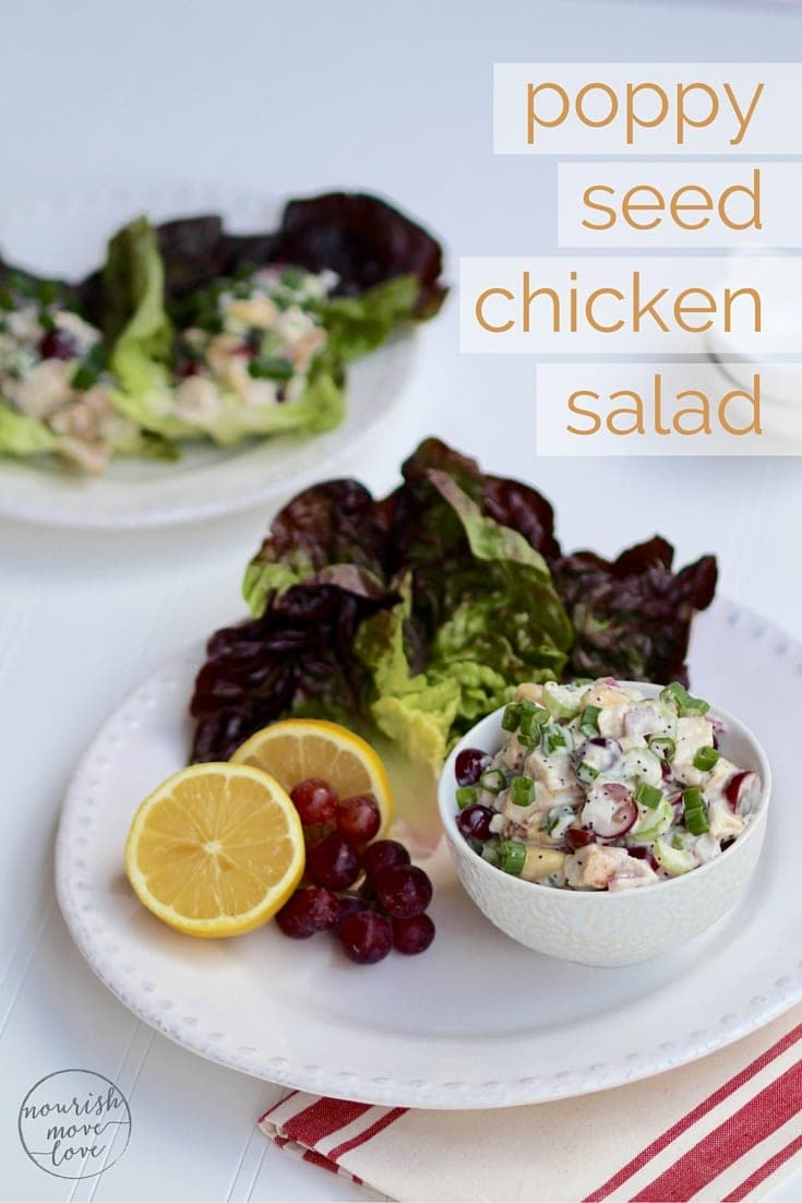 Poppy Seed Chicken Salad Lettuce Wraps Recipe | www.nourishmovelove.com