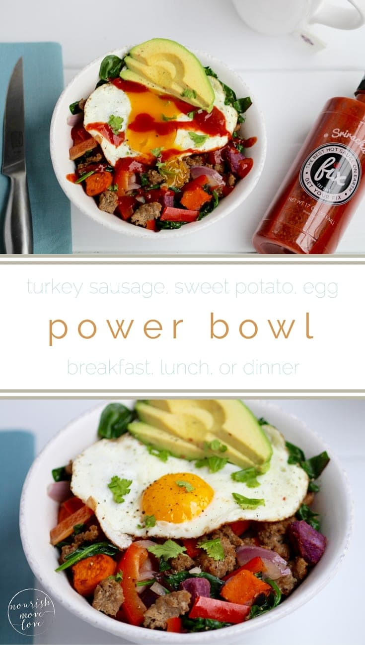 forget oatmeal, this sweet potato, turkey sausage, egg bowl has you covered for breakfast, lunch or dinner! this savory power bowl is packed with nutritional superstars -- sweet potato, avocado, turkey sausage, greens, and eggs | www.nourishmovelove.com