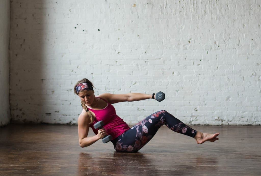 6-move arms and abs workout to strengthen and tone |6-moves, 20 minutes, and a set of 5-15 pound dumbbells is all you need to move through this arms and abs strength training and toning workout. | www.nourishmovelove.com
