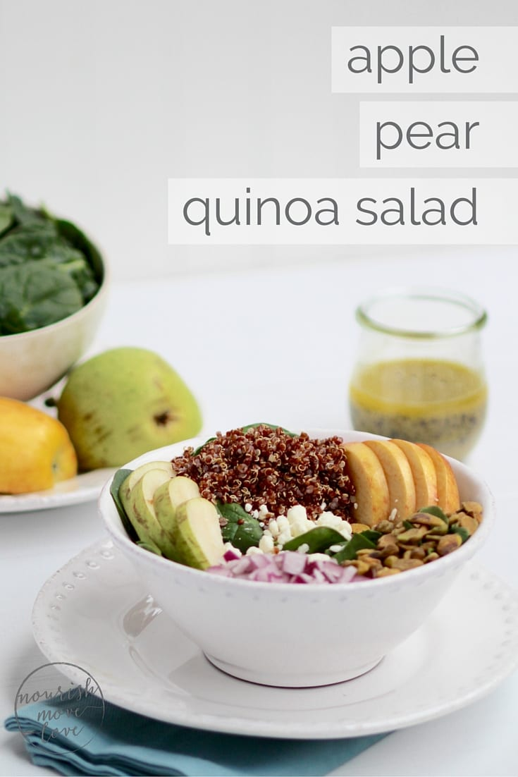simple apple, pear, quinoa salad + lemon poppyseed dressing | freshen up lunchtime with this delicious and simple quinoa and spinach salad with apples, pears, pistachios, and topped with a homemade lemon poppyseed vinaigrette. | www.nourishmovelove.com