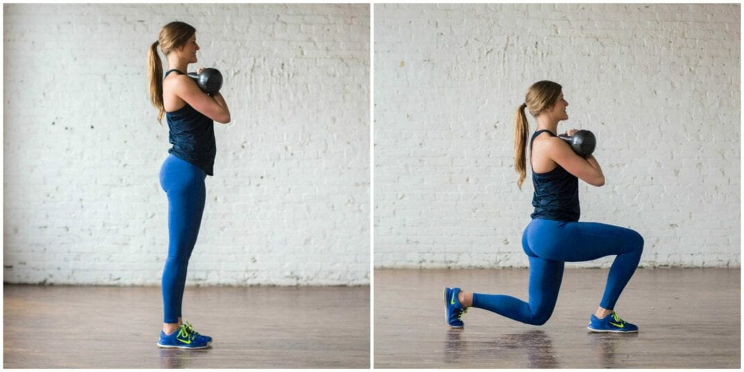front lunge with kettlebell | kettlebell workout