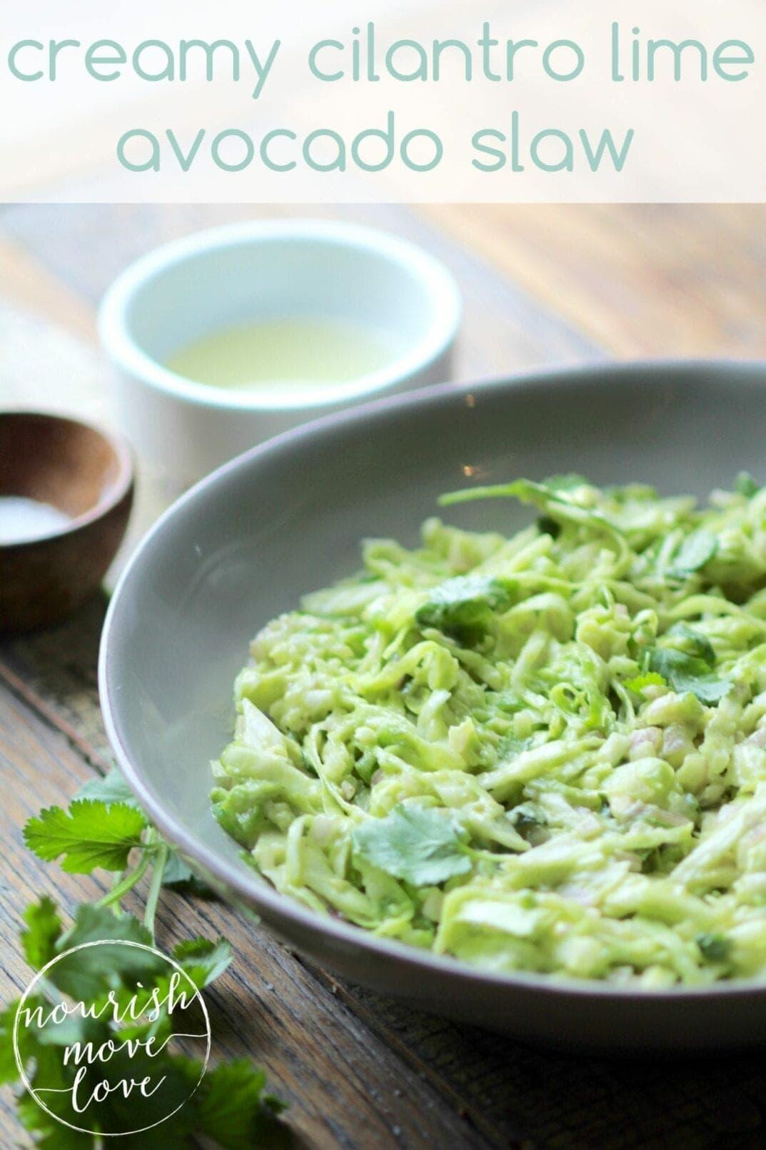 creamy cilantro lime avocado slaw | www.nourishmovelove.com