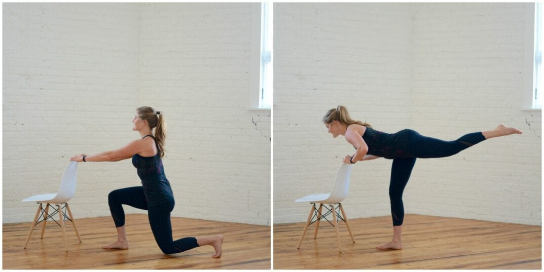 barre lunge + straight leg lift
