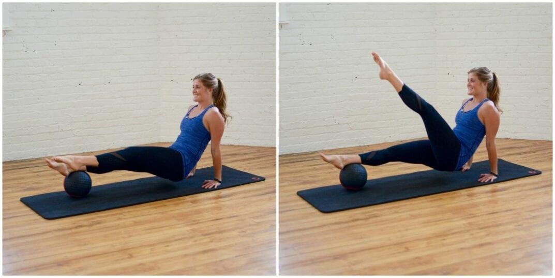 medicine ball reverse plank leg lifts | www.nourishmovelove.com