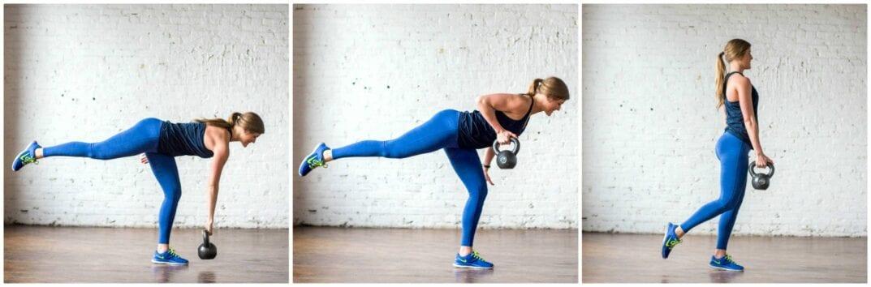 how to do a single leg deadlift + row