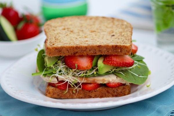 healthy lunch strawberry spinach sandwich nourish move love